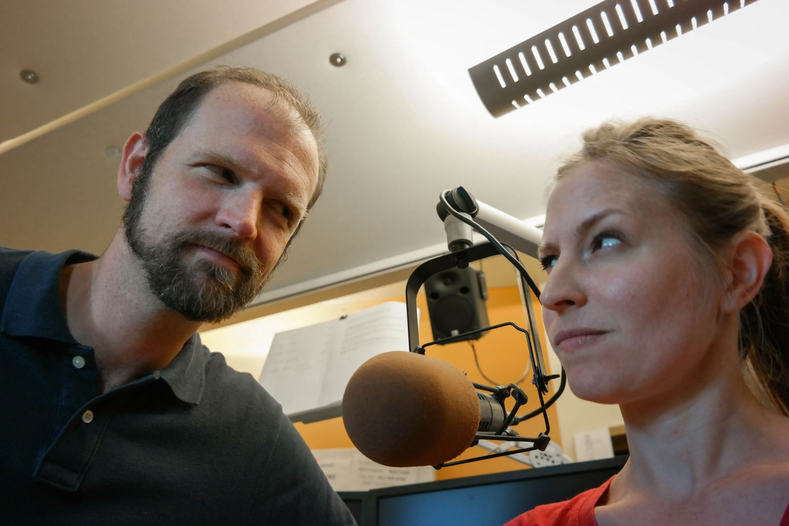 WESA radio hosts Josh Raulerson and Larkin Page-Jacobs have an ongoing feud over the temperature in the on-air studio. She likes it warmer, he likes it cooler—which is not an uncommon disagreement among men and women in shared work spaces.